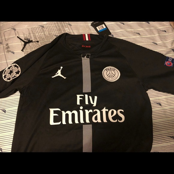 watch f1b85 cea2f PSG x Jordan Neymar black Champions League jersey NWT